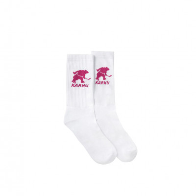 image: Hockey Bear Sock White Fuchsia